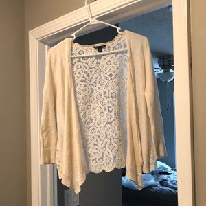 Off White Cardigan with lace back